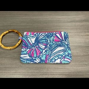 Lilly Pulitzer Tropical Wristlet Wooden Handle